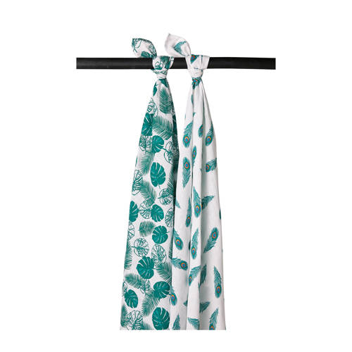Meyco 2-pack swaddle Tropical leaves-Peacock emerald green