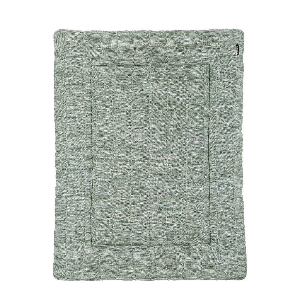 Meyco boxkleed Block mixed stone/forest green, Stone/Forest Green