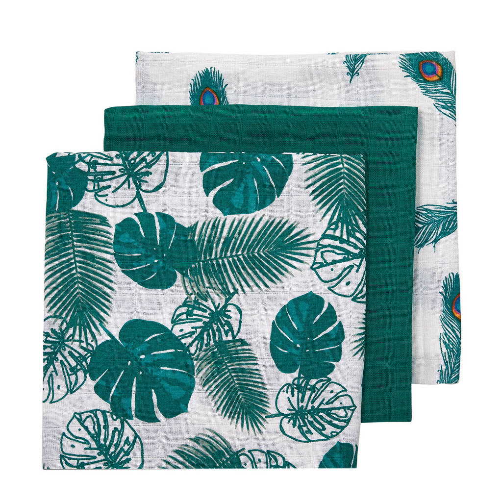 Meyco 3-pack luiers Tropical leaves-Uni emerald green-Peacock, Emerald Green