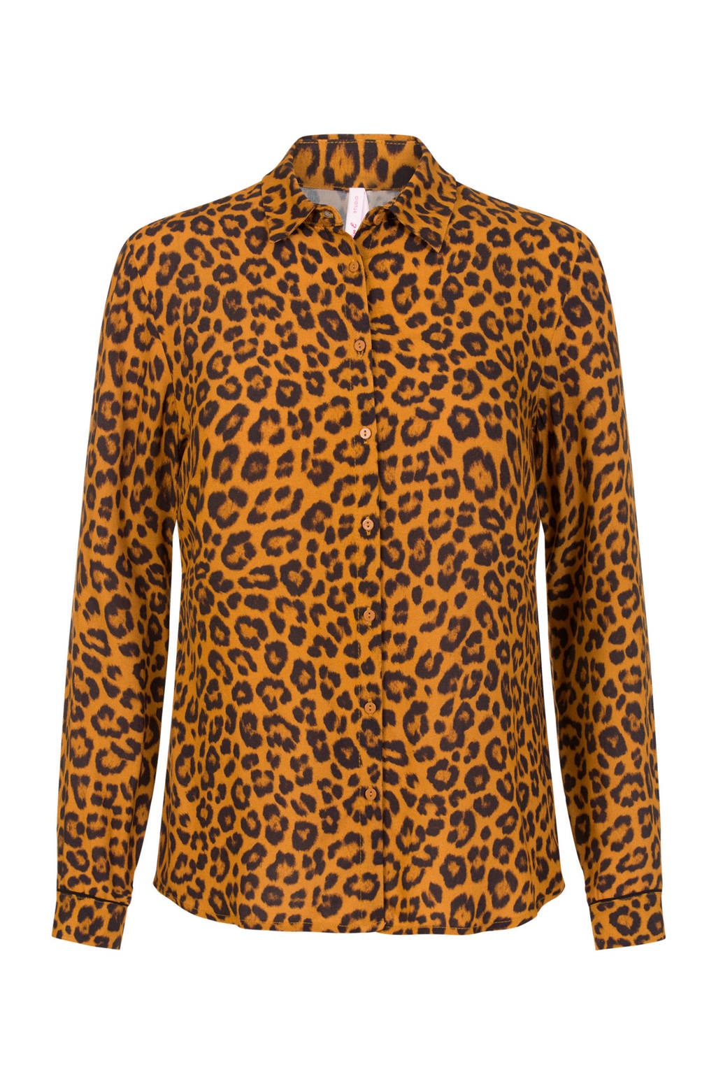 Miss Etam Regulier blouse met panterprint en contrastbies bruin, Geel/zwart