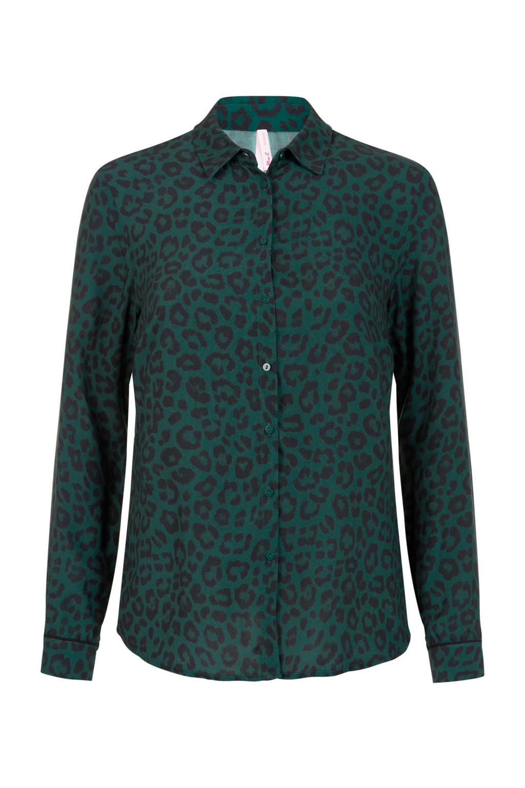 Miss Etam Regulier blouse met panterprint en contrastbies bruin, Donkergroen/zwart