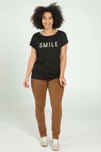 Paprika T-shirt met tekst en 3D applicatie zwart, Zwart