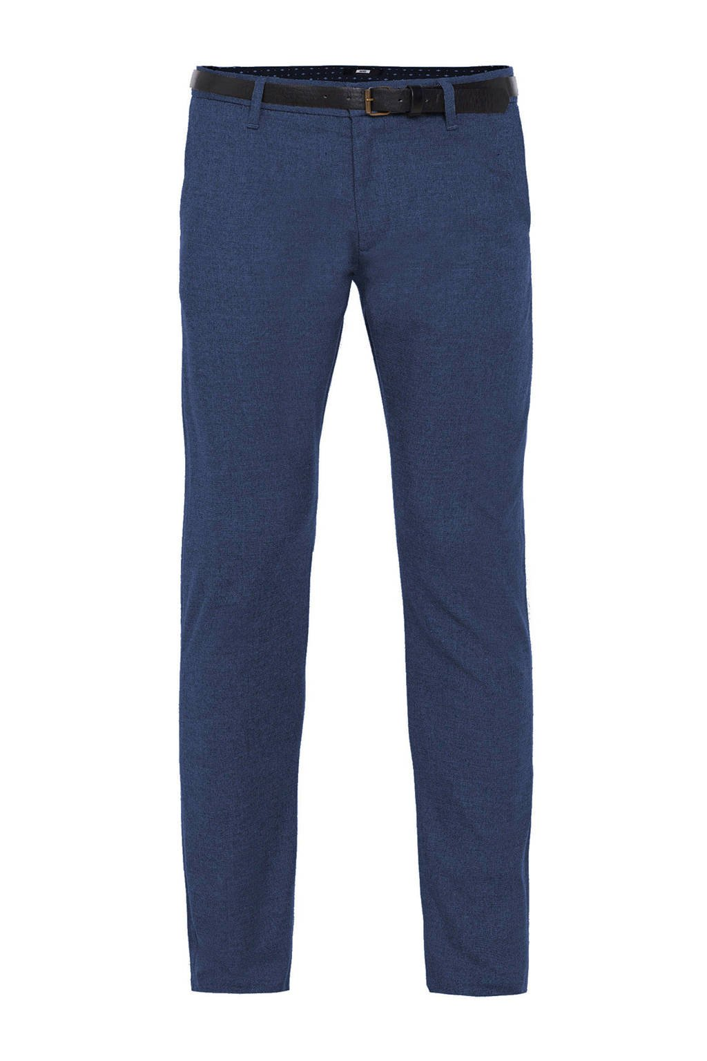 WE Fashion chino donkerblauw, Royal Blue Melange