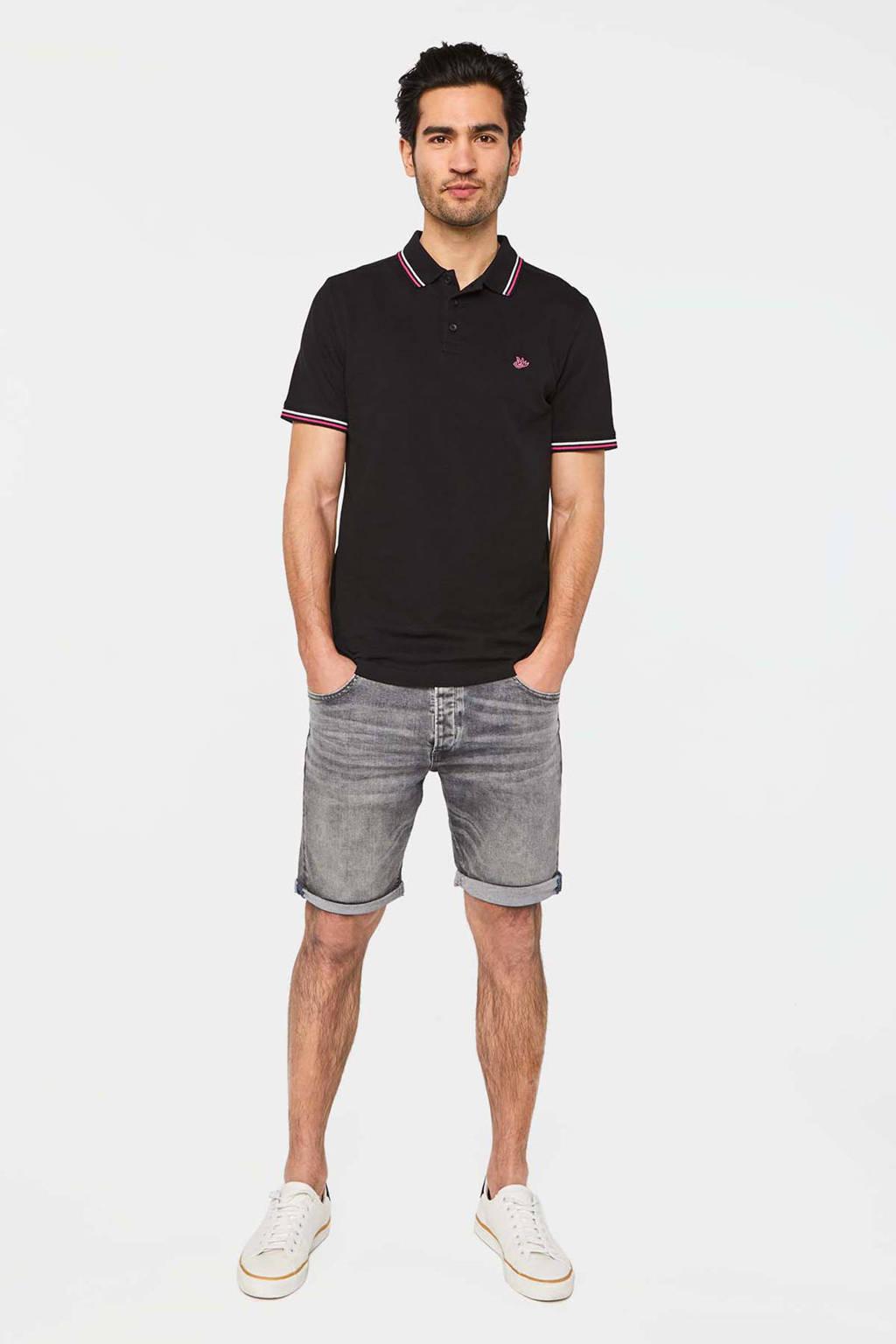 WE Fashion regular fit polo van biologisch katoen zwart/rood/wit, Zwart/rood/wit