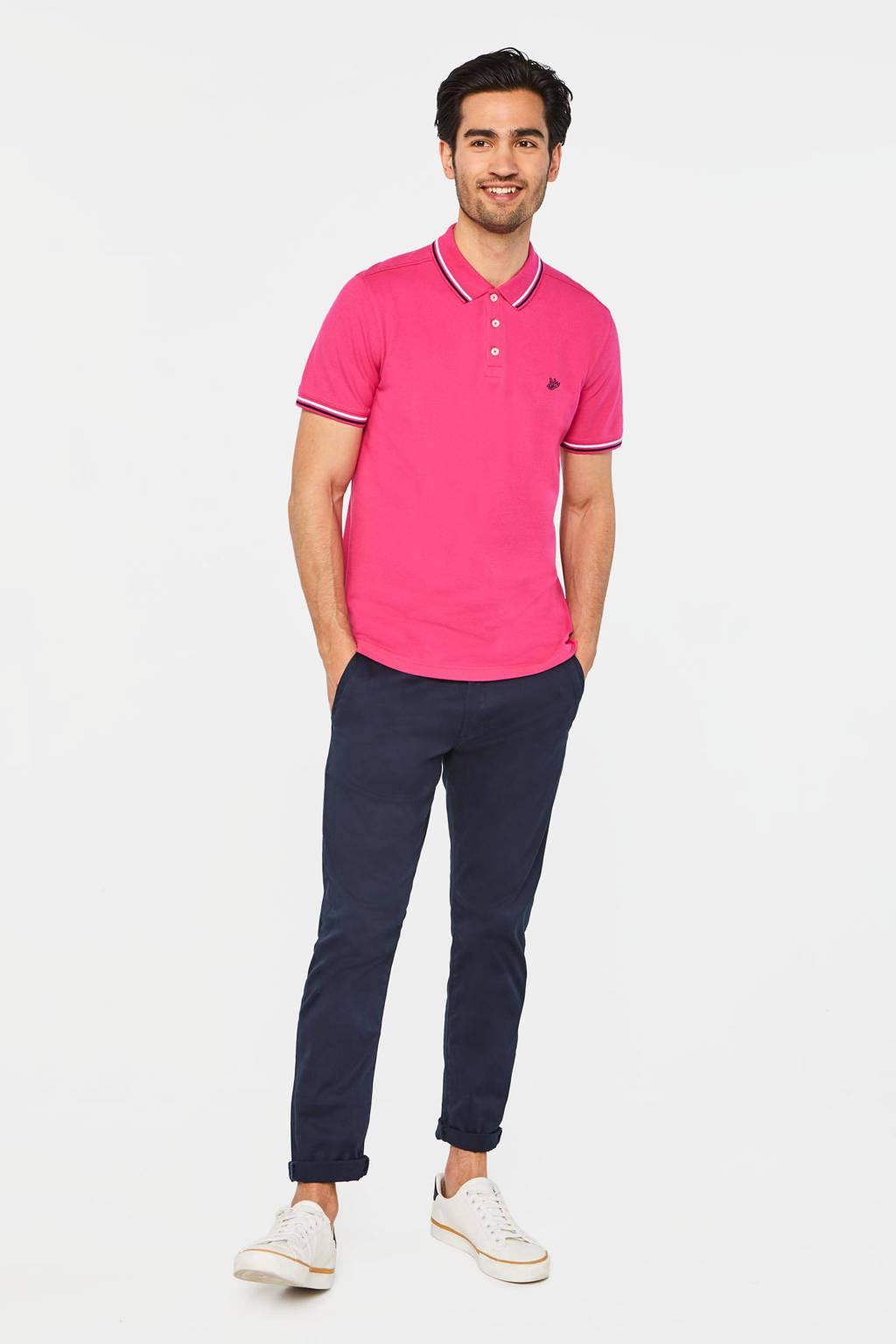 WE Fashion slim fit polo van biologisch katoen pink neo, Pink Neo