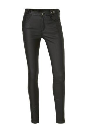 Yessica coated skinny broek zwart