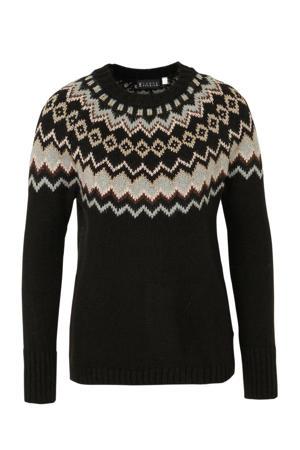 grofgebreide trui met glitters zwart