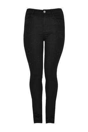 high waist straight fit jeans met geborduurde sterren zwart