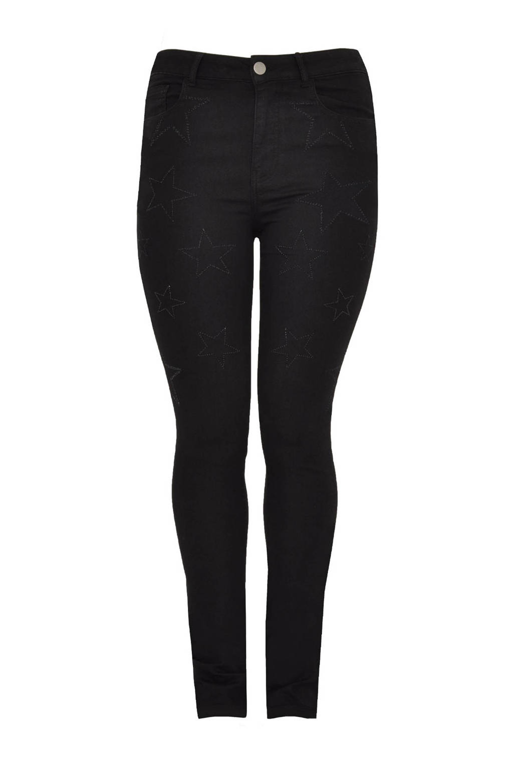 Yoek high waist straight fit jeans zwart, Zwart