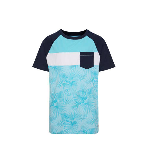 WE Fashion T-shirt met all over print blauw