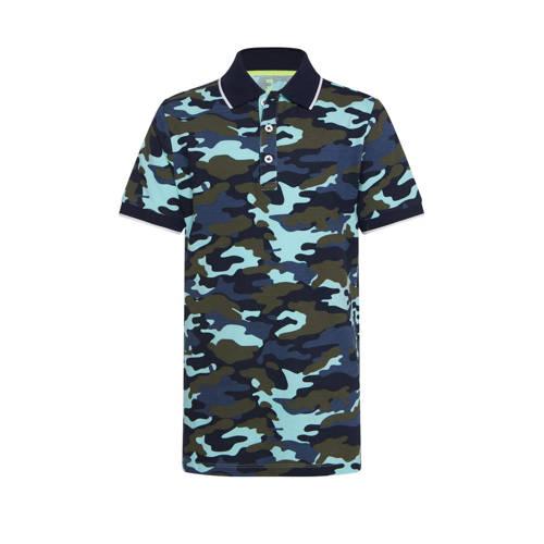 WE Fashion polo met camouflageprint blauw