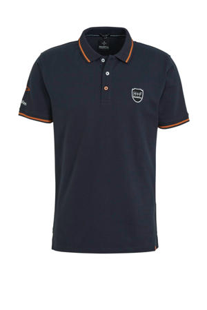 regular fit polo blauw/oranje