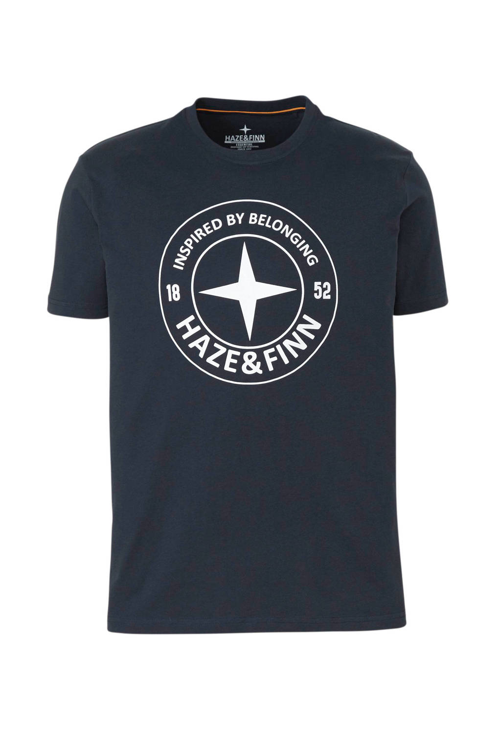 Haze & Finn T-shirt met printopdruk marine, Marine