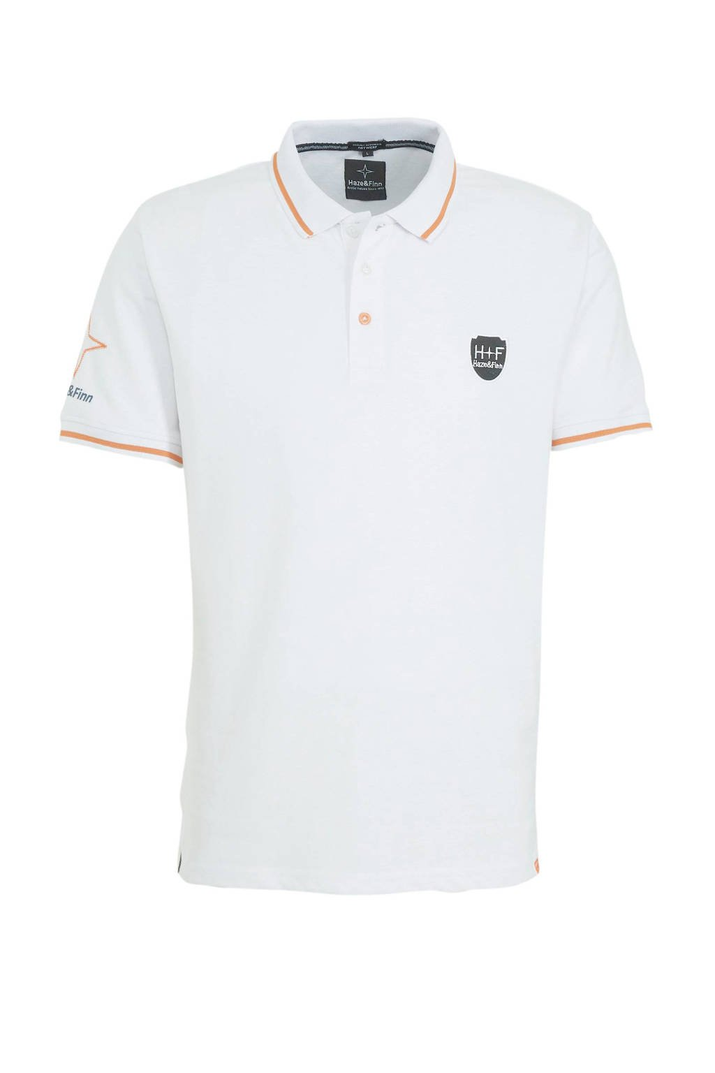 Haze & Finn regular fit polo wit/oranje, Wit/oranje