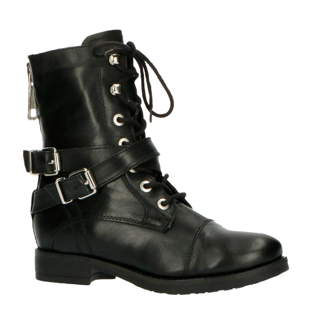 NIKKIE Delvina Boots  leren veterboots zwart, Zwart