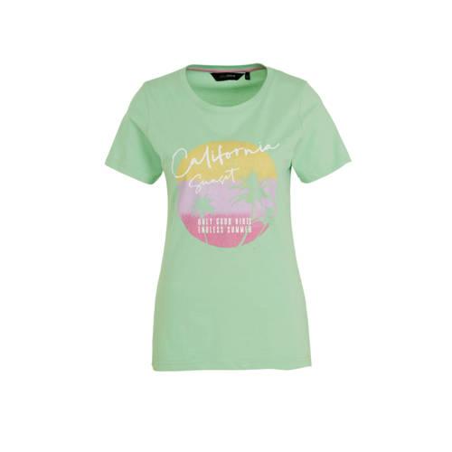 anytime katoenen T-shirt met print-opdruk lichtgro