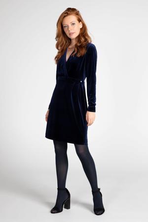 fluwelen jersey jurk donkerblauw