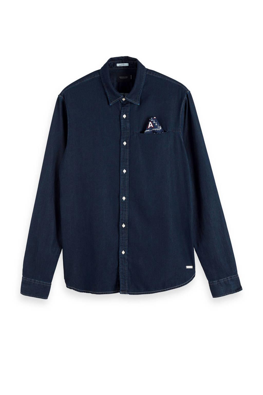 Scotch & Soda Amsterdams Blauw regular fit overhemd dark denim, Dark denim