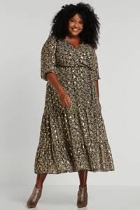 Paprika jurk met all over print zwart/goud, Zwart/goud