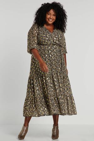 jurk met all over print zwart/goud