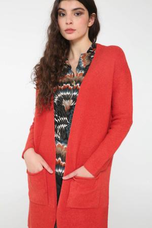 ribgebreid vest oranje/rood