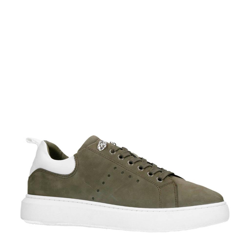Sacha   nubuck sneakers olijfgroen, Olijfgroen/wit