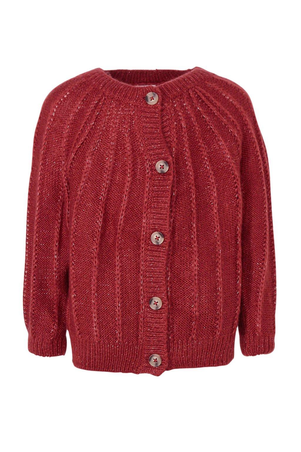 C&A Palomino grofgebreid vest met glitters donkerrood, Donkerrood