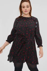 C&A XL Clockhouse jurk met sterren en ruches zwart/rood, Zwart/rood