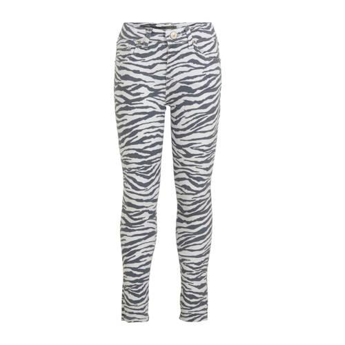 LTB skinny broek Amy met zebraprint wit/antraciet