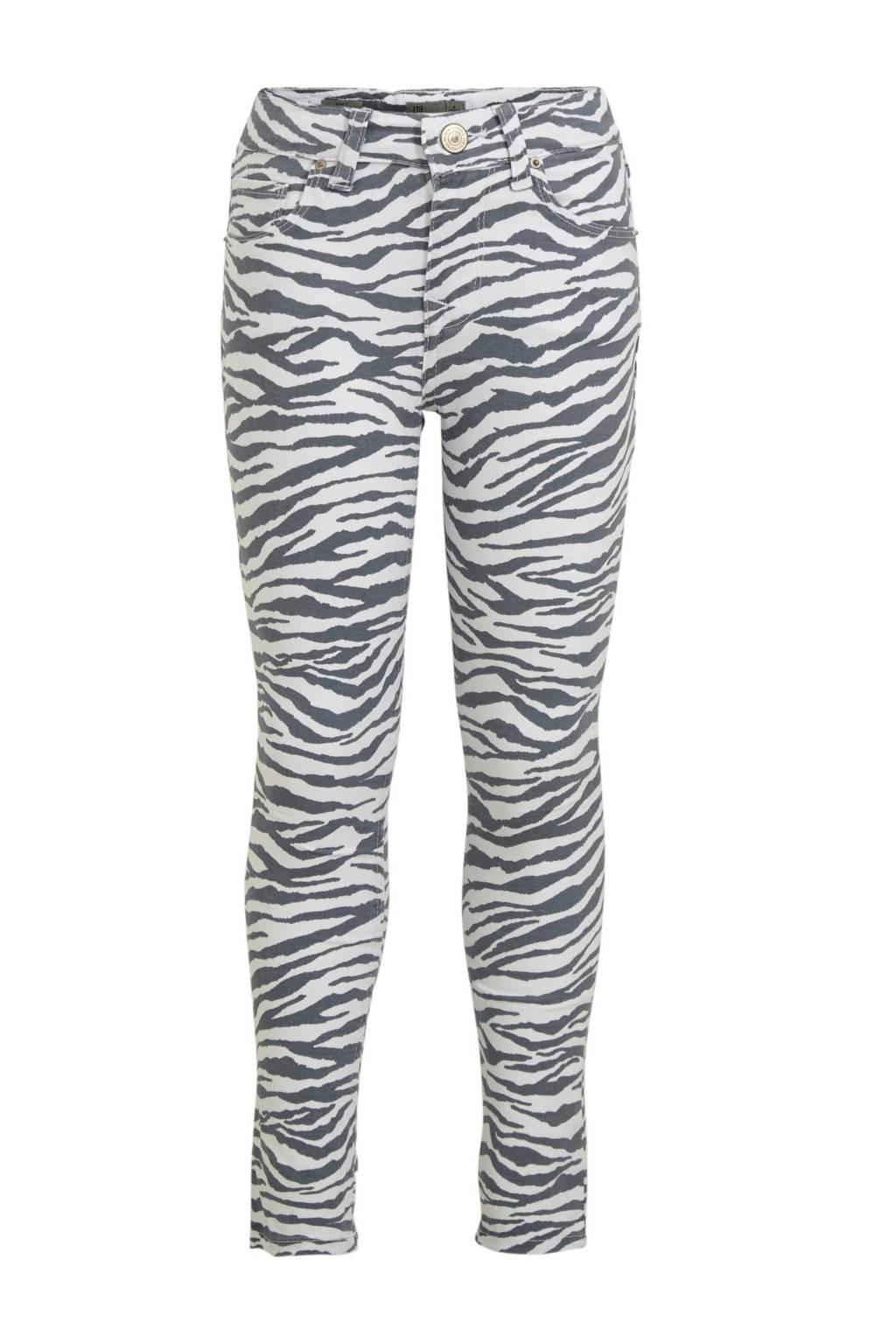 LTB skinny broek Amy met zebraprint wit/antraciet, Wit/antraciet