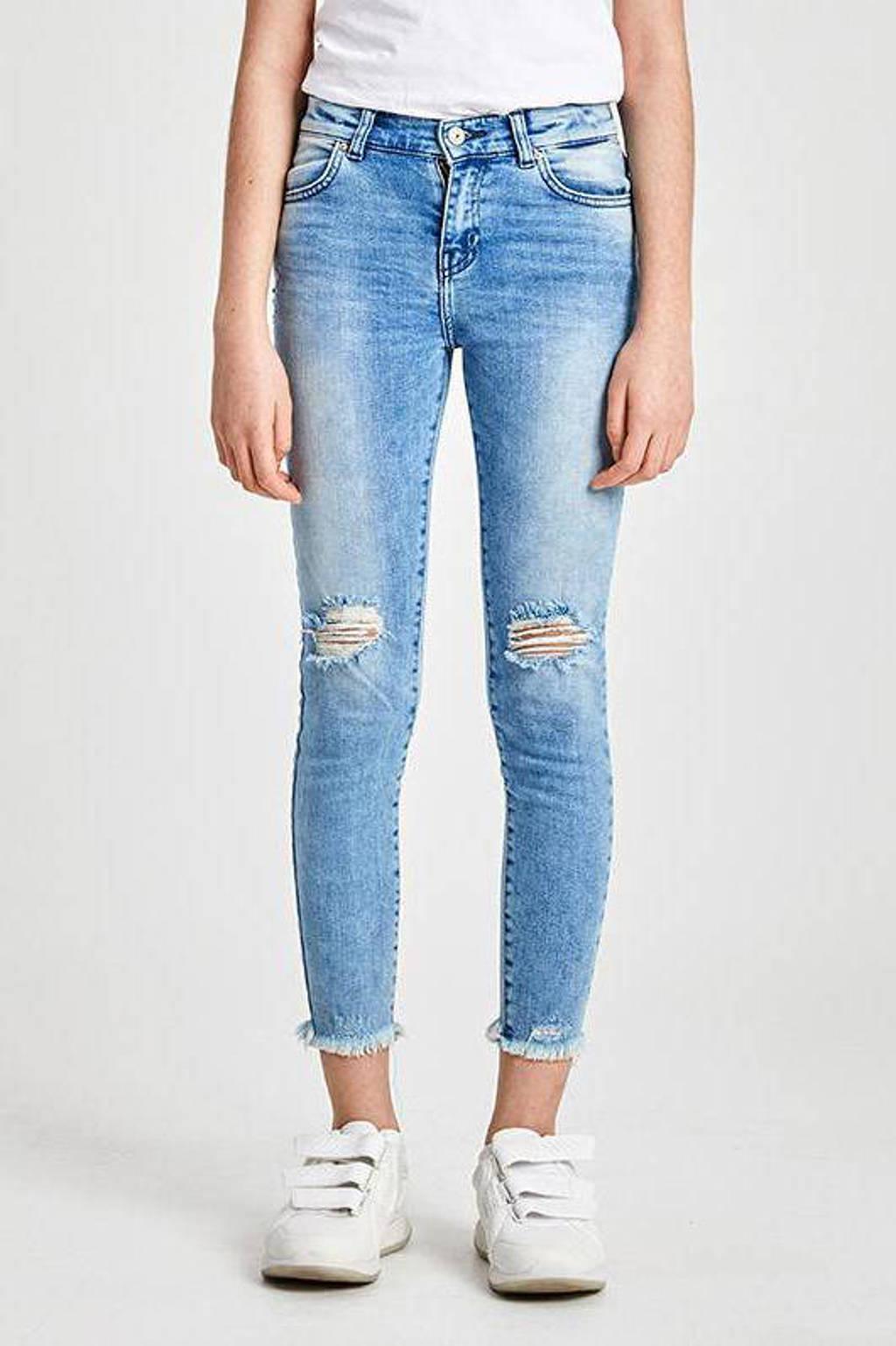 LTB cropped skinny jeans Lonia met slijtage stonewashed, Stonewashed