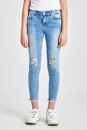 cropped skinny jeans Lonia met slijtage stonewashed