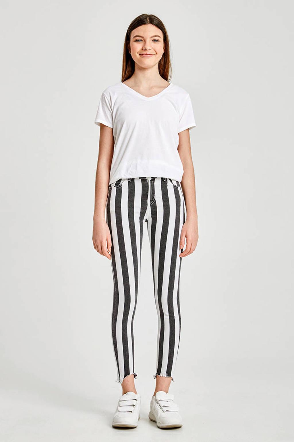LTB gestreepte cropped skinny broek Lonia zwart/wit, Zwart/wit