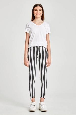 gestreepte cropped skinny broek Lonia zwart/wit