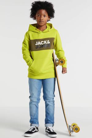 hoodie Jonah met logo limegroen/olijfgroen