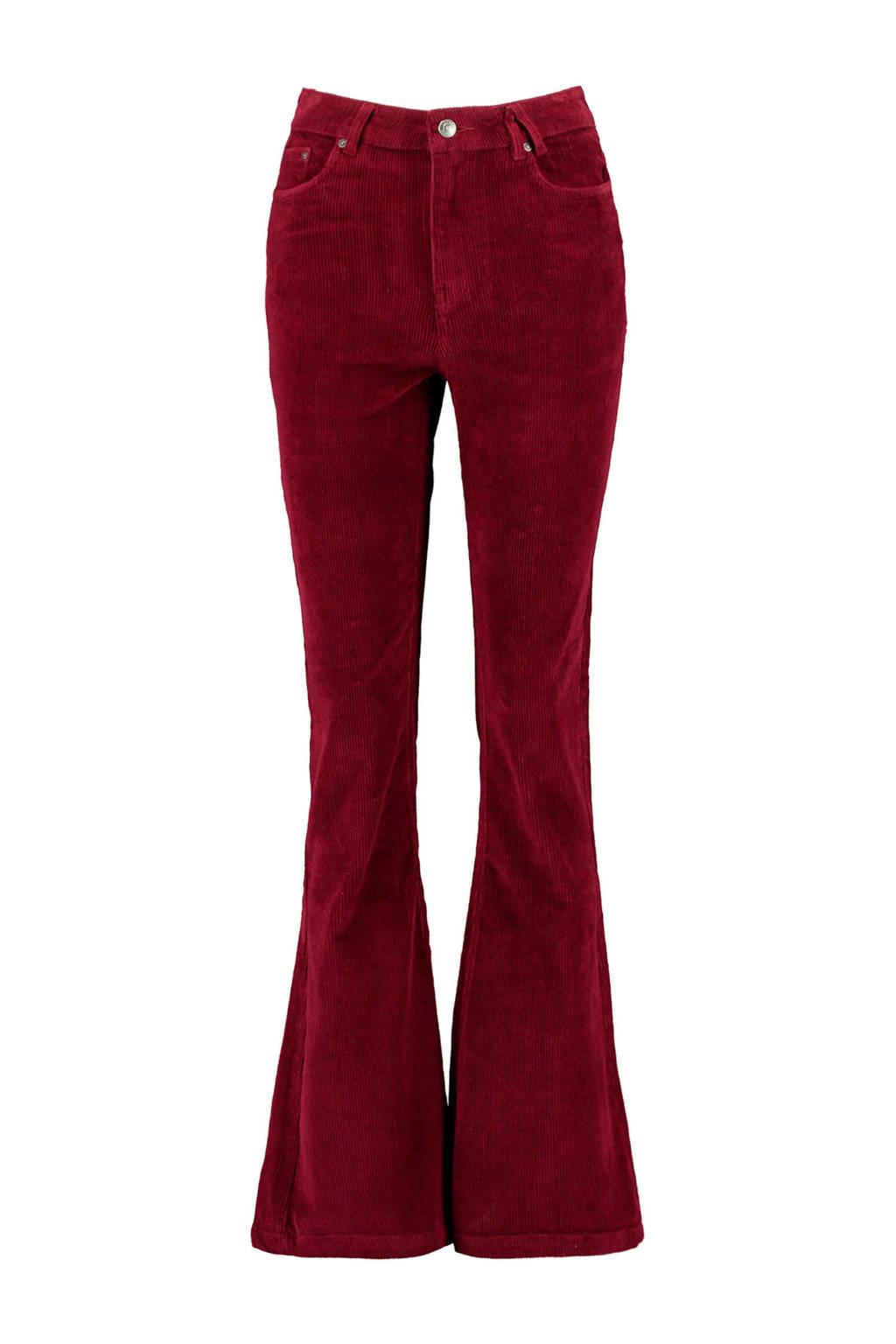 America Today corduroy high waist flared broek rood, Rood