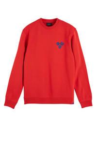 Scotch & Soda Amsterdams Blauw sweater met logo rood, Rood
