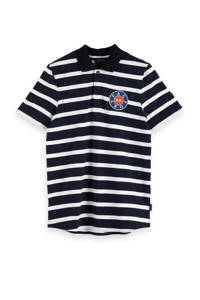 Scotch & Soda Amsterdams Blauw gestreepte regular fit polo zwart/wit, Zwart/wit