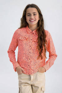 Garcia blouse met panterprint en ruches zalmroze/grijs, Zalmroze/grijs