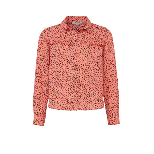Garcia blouse met panterprint en ruches zalmroze/g