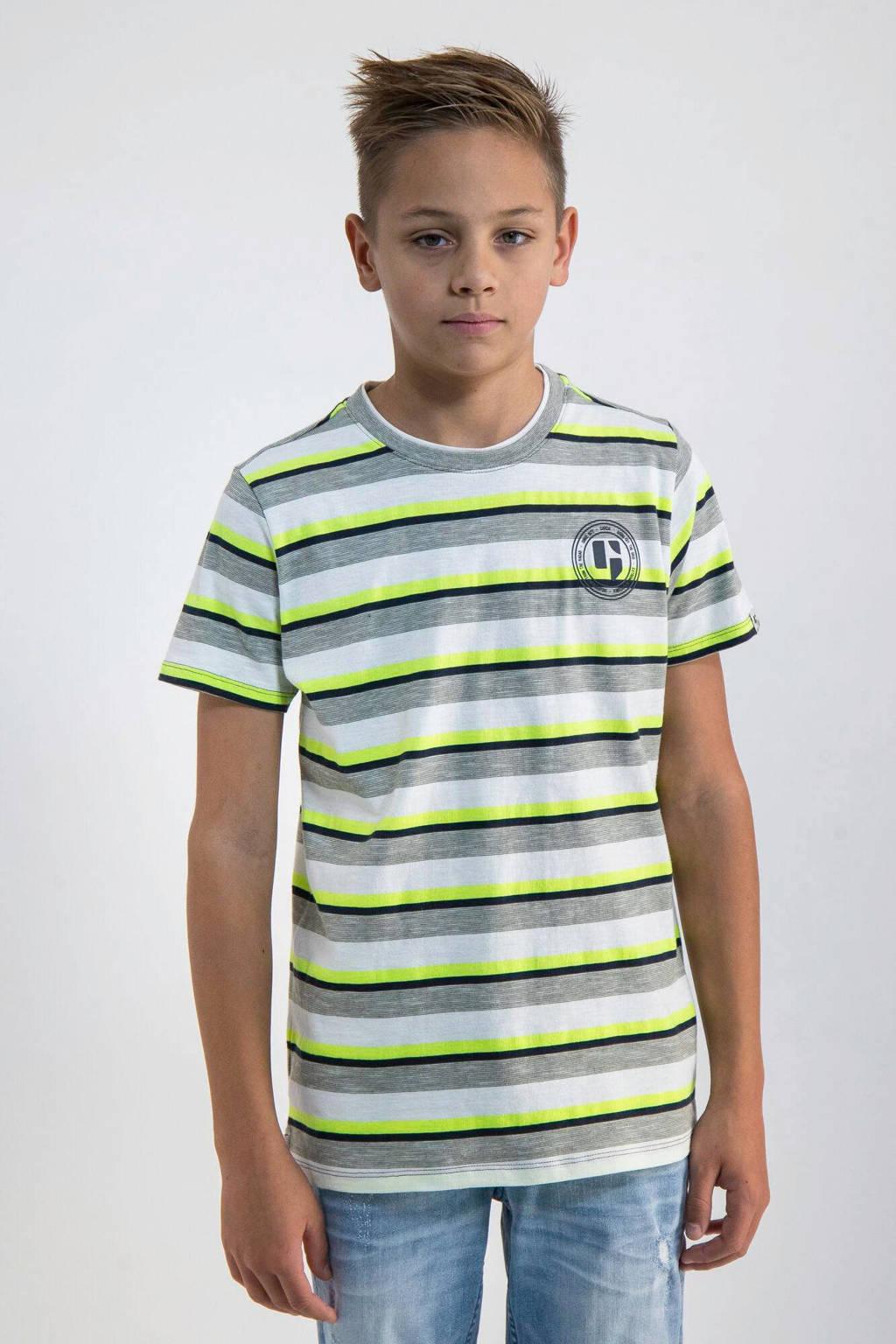 Garcia gestreept T-shirt neongeel/wit/zwart, Neongeel/wit/zwart