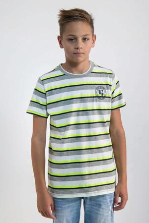 gestreept T-shirt neongeel/wit/zwart