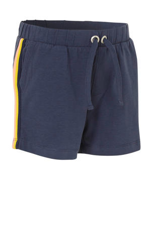 regular fit sweatshort met zijstreep donkerblauw/geel/lichtroze
