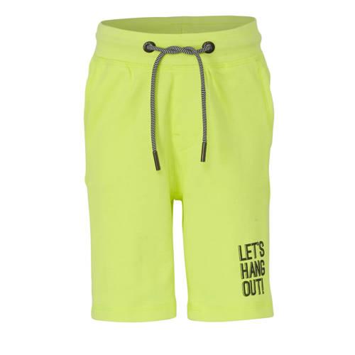 Garcia regular fit sweatshort met tekst neon geel/