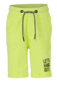 Garcia regular fit sweatshort met tekst neon geel/zwart, Neon geel/zwart