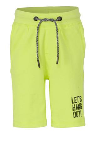 regular fit sweatshort met tekst neon geel/zwart