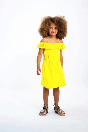gemêleerde off shoulder jersey jurk geel