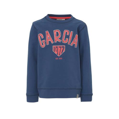 Garcia sweater met logo donkerblauw/rood/wit