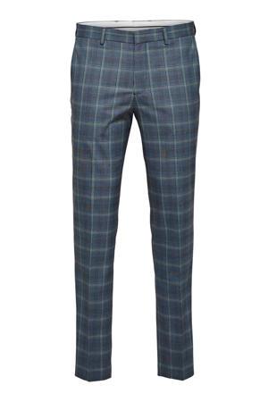 geruite slim fit pantalon zwart/wit/blauw