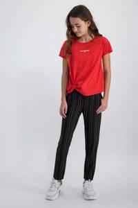 Garcia gestreepte regular fit broek zwart/rood/wit, Zwart/rood/wit